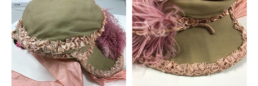 Ruched silk ribbon at the back of the bonnet and along the brim after stabilisation
