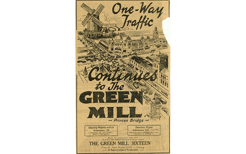 Newspaper advertisement for the Green Mill dance hall