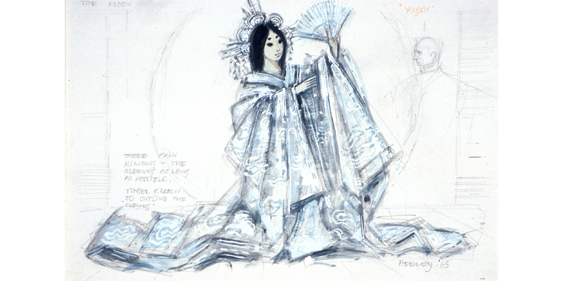 Costume design by Desmond Heeley for Tsukiyomi, the Moon Goddess in Yugen