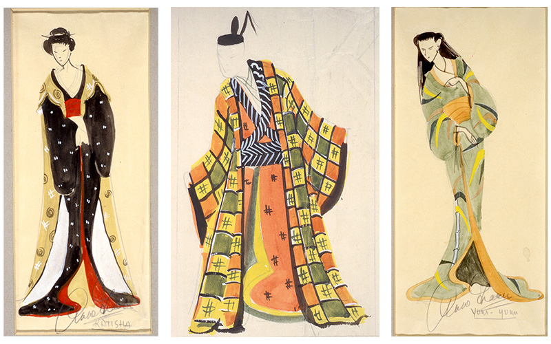 "Installation image of ""Costume designs by Ann Fraser for (from left) Katisha, Pish-Tush and Yum-Yum in The Mikado"