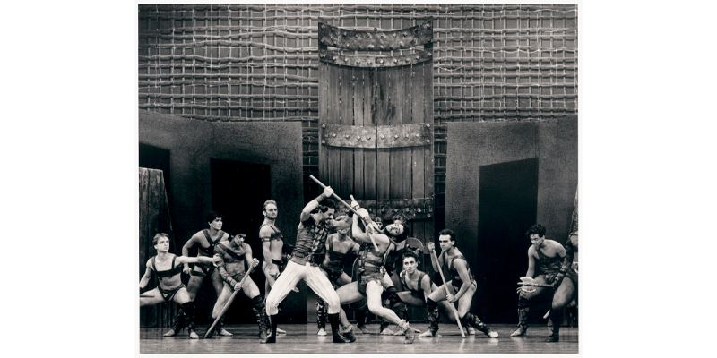 Mark Brinkley and Adam Marchant (centre) in 'Spartacus', The Australian Ballet, 1990