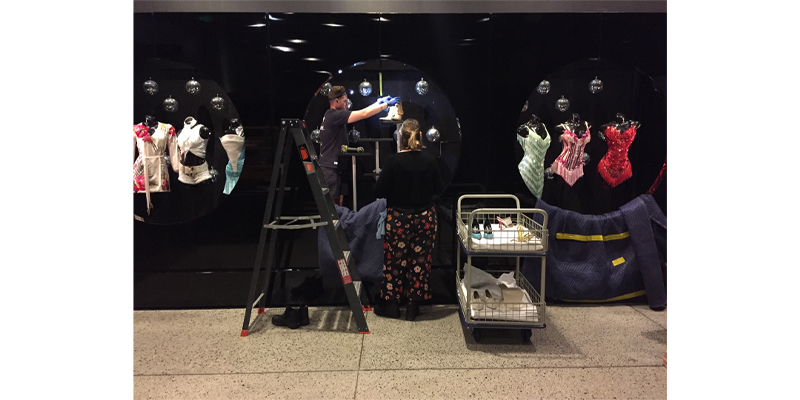 Installing the Kylie on Stage Exhibition