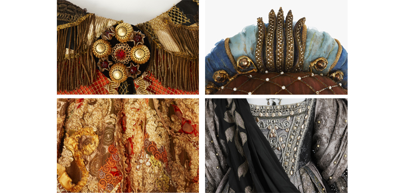 Four costume details from four operas