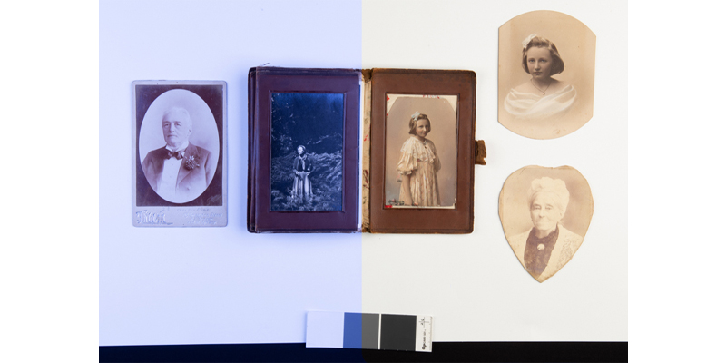 Photograph album containing multiple photographs of Nancye Stewart and family