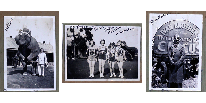 Photographs of Wirth's Circus members, c.1935 in Charles West's scrapbook