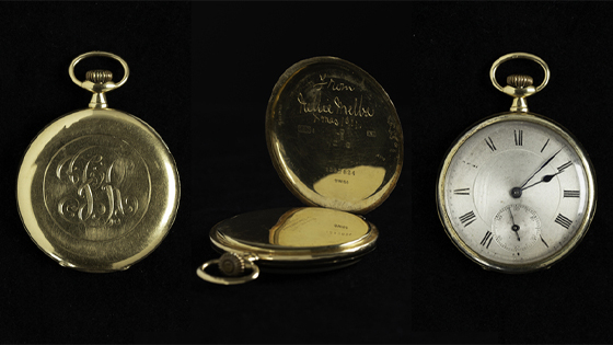 A pocket watch given to Frank Rigo by Nellie Melba, seen from three different angles