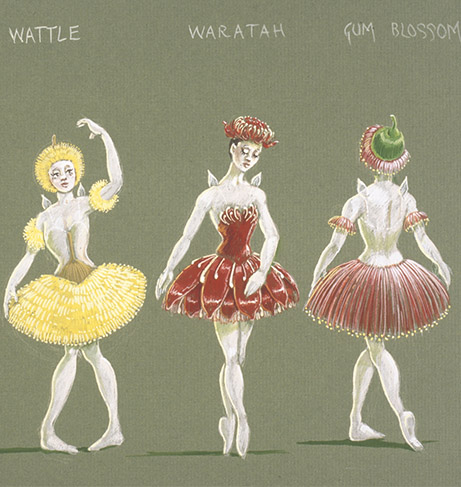 Hugh Colman designs for the Snugglepot and Cuddlepie ballet