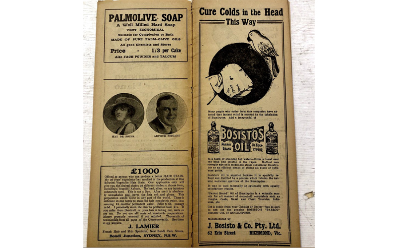 Programme for 'Goody Two Shoes', Her Majesty's Theatre Sydney, May 1919, with advertisements for cold remedies