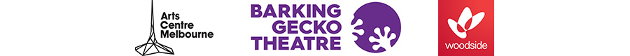 Arts Centre Melbourne, Barking Gecko Theatre Company and Woodside logos