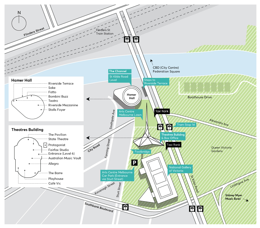 A map of Arts Centre Melbourne's buildings and the surrounds