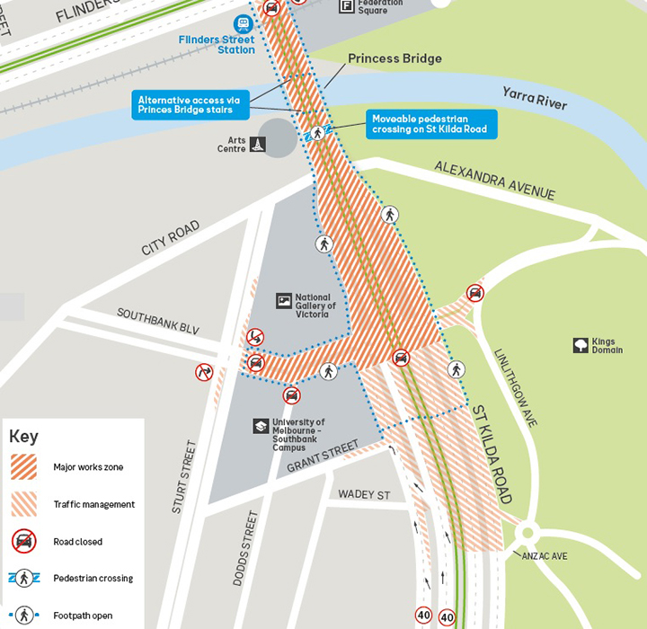 A map of the affected areas of Yarra Trams' renewal works on St Kilda Rd in 2021