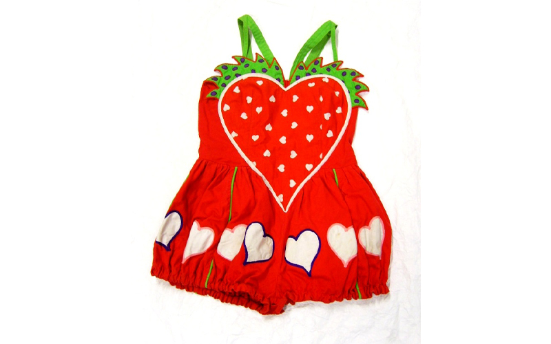 Strawberry suit designed by Laurel Frank, 1979