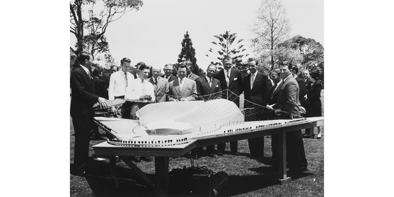 Kenneth Myer (third from right) with the model of the Bowl on site