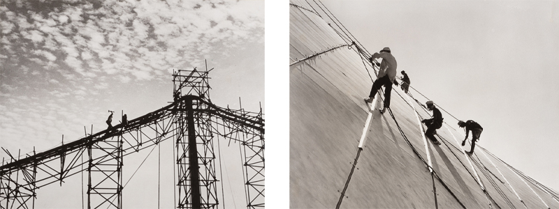 Left: Fixing the main cable to the top of one of the masts. Right: Riggers suspend.
